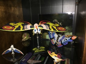 SHMA Mothra on stand with other Mothras.