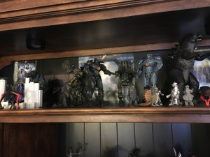 Gipsy Danger, Cherno Alpha and Battle Damaged Gopsy Danger.  Also Gigan and Mecha Godzilla