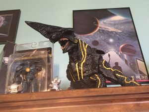 Knifehead on his stand